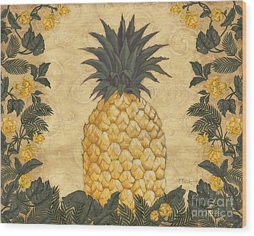 Pineapple Floral Wood Print by Paul Brent