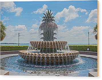 Wood Print featuring the photograph Pineapple Fountain by Sennie Pierson