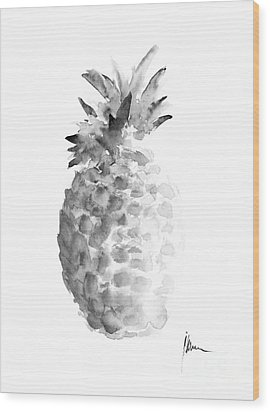 Pineapple Painting Watercolor Art Print Wood Print by Joanna Szmerdt