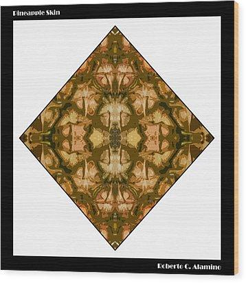 Pineapple Skin Wood Print by Roberto Alamino