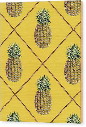 Pineapple Squared Textile Pattern Wood Print by John Keaton