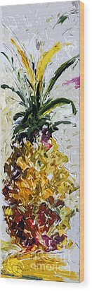Pineapple Triptych Part 2 Wood Print by Ginette Callaway