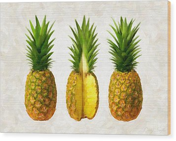 Pineapples Wood Print by Danny Smythe