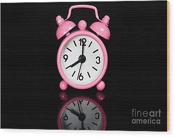 Pink Alarm Clock Wood Print by Niphon Chanthana