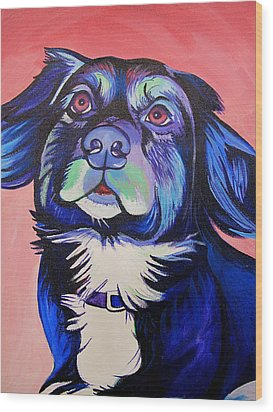 Wood Print featuring the painting Pink And Blue Dog by Joshua Morton