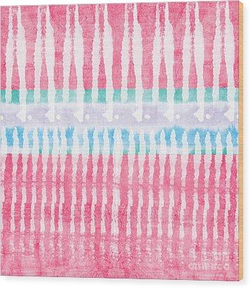 Pink And Blue Tie Dye Wood Print by Linda Woods