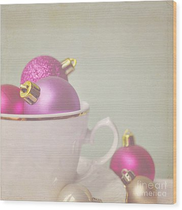 Pink And Gold Christmas Baubles In China Cup. Wood Print by Lyn Randle