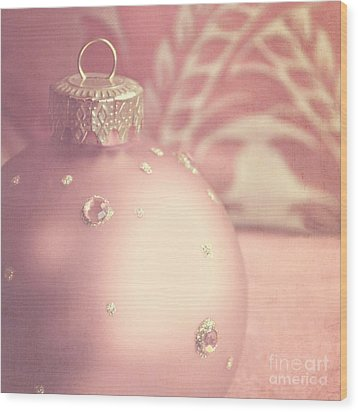 Pink And Gold Ornate Christmas Bauble Wood Print by Lyn Randle