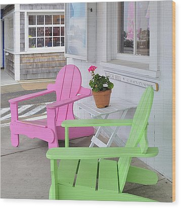Pink And Green Chairs Watch Hill Rhode Island Wood Print by Marianne Campolongo