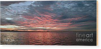 Pink And Grey At Sea - Sunrise Panorama  Wood Print by Geoff Childs