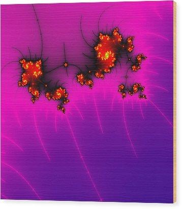 Pink And Purple Digital Fractal Artwork Wood Print by Matthias Hauser