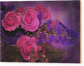 Pink And Purple Floral Bouquet Wood Print