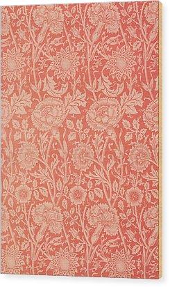 Pink And Rose Wallpaper Design Wood Print by William Morris