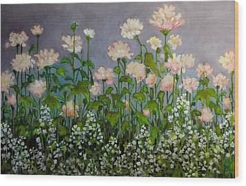 Wood Print featuring the painting Pink And White Flowers by Irena Mohr