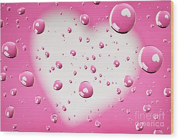 Pink And White Heart Reflections In Water Droplets Wood Print by Sharon Dominick