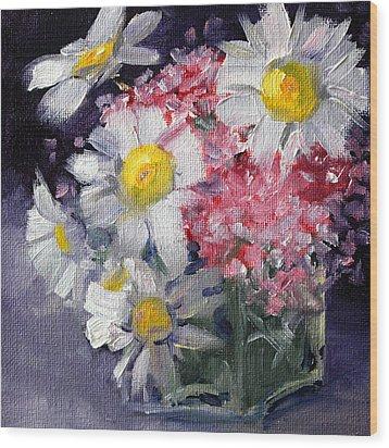 Pink And White Wood Print by Nancy Merkle