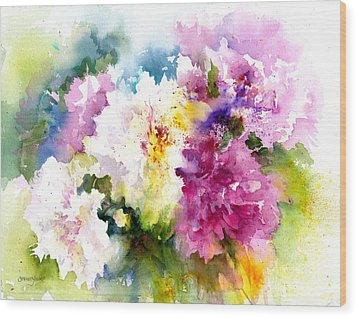 Pink And White Peonies Wood Print by Christy Lemp