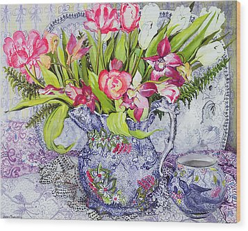 Pink And White Tulips Orchids And Blue Antique China Wood Print by Joan Thewsey