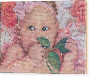Pink Angel Wood Print by Gwen Carroll