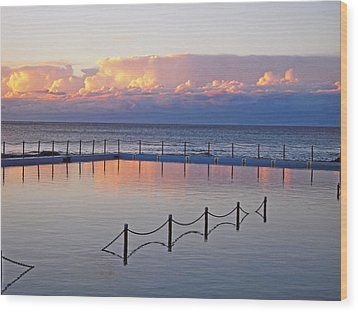 Pink At Dawn Swimming Wood Print