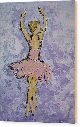 Pink Ballerina Wood Print by Kat Griffin