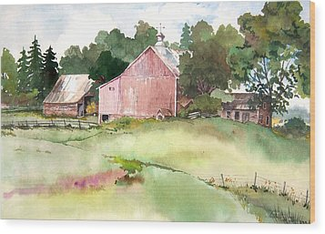 Pink Barn Wood Print by Susan Crossman Buscho