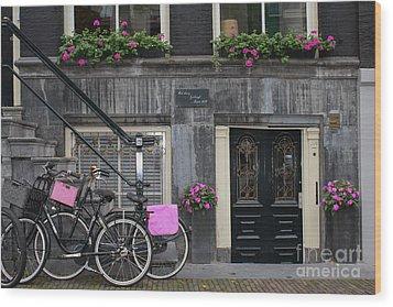 Pink Bikes Of Amsterdam Wood Print