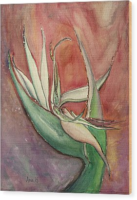 Pink Bird Of Paradise Wood Print by Anais DelaVega