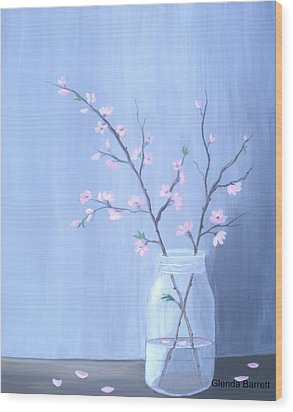 Pink Blossoms Wood Print by Glenda Barrett