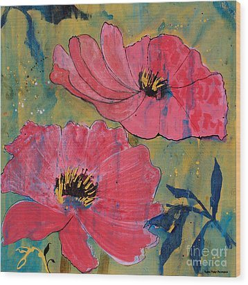 Wood Print featuring the painting Pink Blossoms by Robin Maria Pedrero
