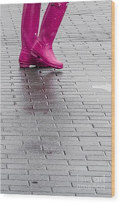Pink Boots 1 Wood Print by Susan Cole Kelly Impressions