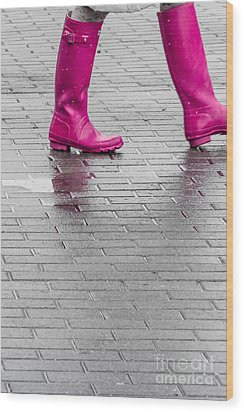Pink Boots 2 Wood Print by Susan Cole Kelly Impressions