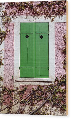 Wood Print featuring the photograph Pink Building With Green Shutters by Mary Bedy
