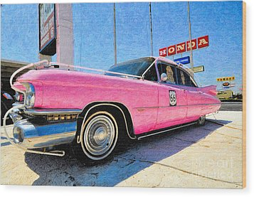 Pink Cadillac Wood Print by Liane Wright