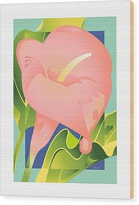 Pink Calla Wood Print