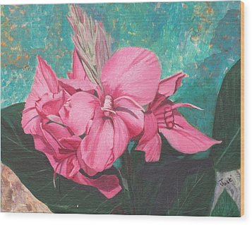 Pink Canna Wood Print by Hilda and Jose Garrancho