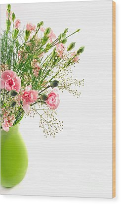 Pink Carnation Flowers Wood Print by Vizual Studio
