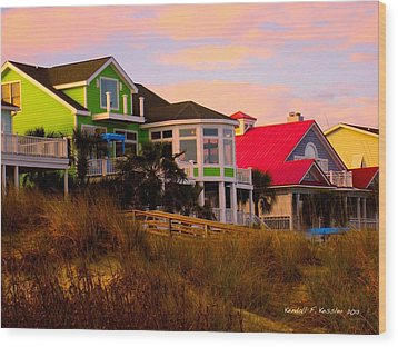 Pink Clouds At Isle Of Palms Wood Print by Kendall Kessler