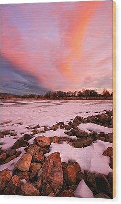 Pink Clouds Over Memorial Park Wood Print by Ronda Kimbrow