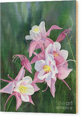 Pink Columbine Blossoms Wood Print by Sharon Freeman