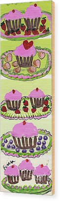 Wood Print featuring the painting Pink Cupcake Delights by Ecinja Art Works
