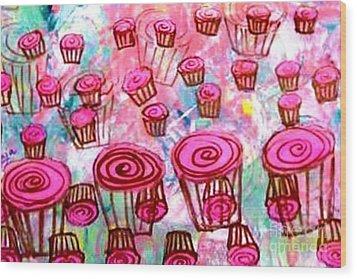 Pink Cupcake Dream Wood Print by Ecinja Art Works