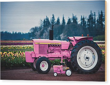 Wood Print featuring the photograph Pink Deeres by Brian Bonham