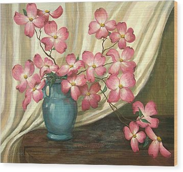 Wood Print featuring the painting Pink Dogwoods by Evie Cook