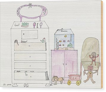 Pink Dolly Bedroom Wood Print