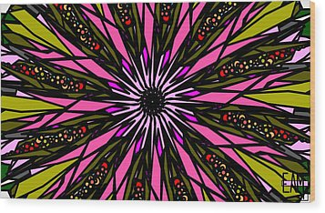 Wood Print featuring the digital art Pink Explosion by Elizabeth McTaggart