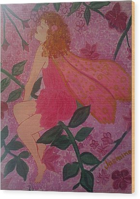 Wood Print featuring the painting Pink Fairy by Judi Goodwin