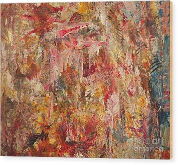 Pink Feathers Wood Print by Nancy Kane Chapman