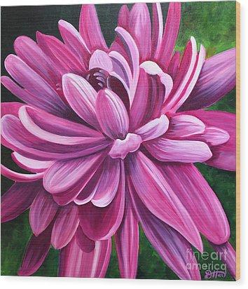 Pink Flower Fluff Wood Print