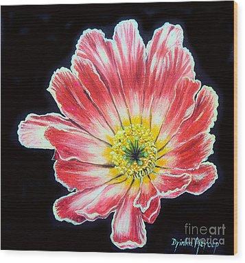 Pink Flower Painting Oil On Canvas Wood Print by Drinka Mercep